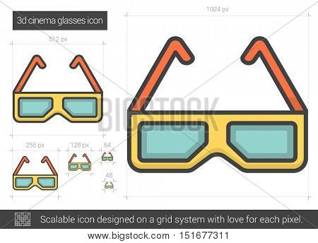 Three d cinema glasses vector line icon isolated on white.