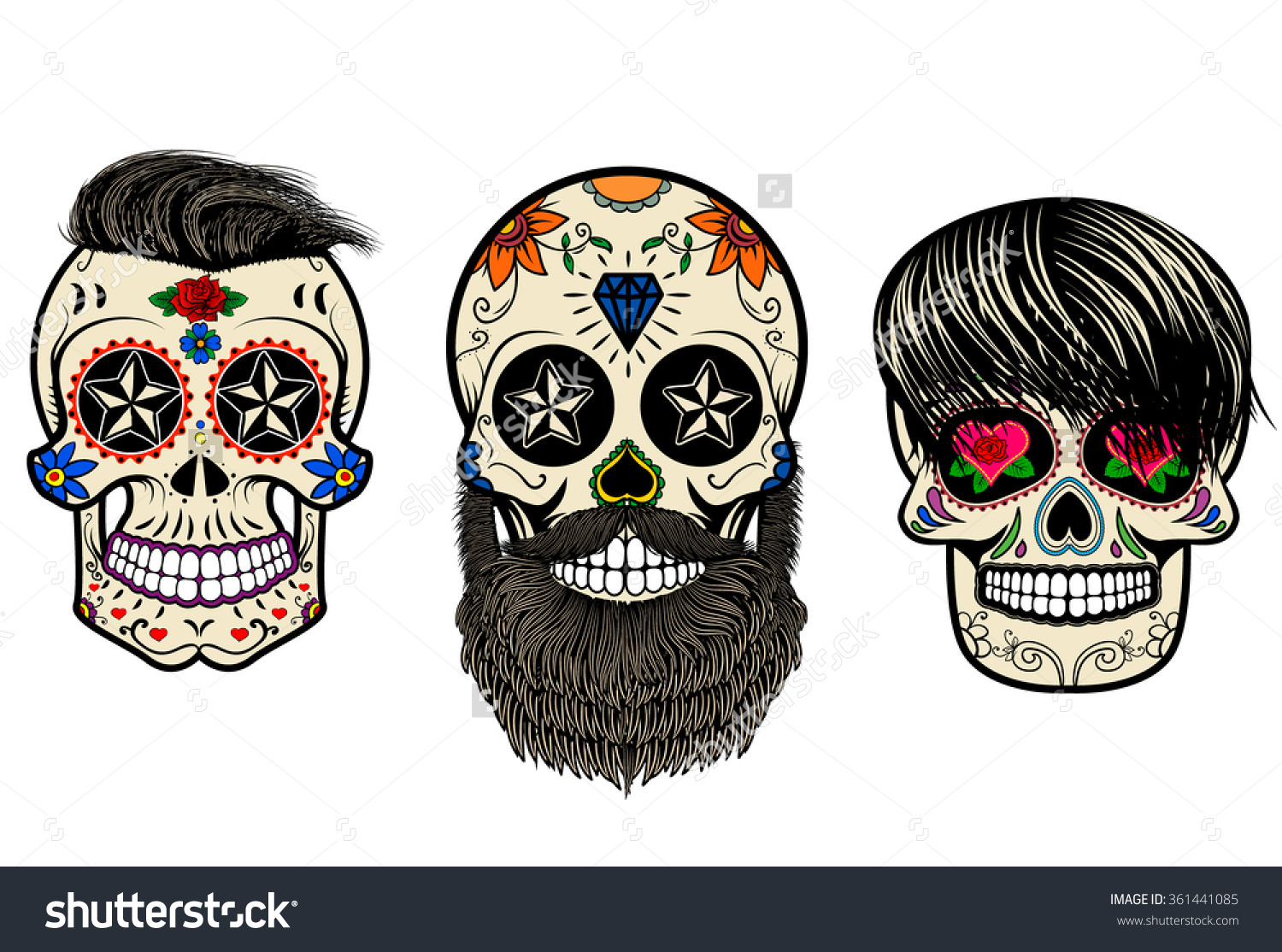 Three Sugar Skulls Hair Beards Day Stock Vector 361441085.