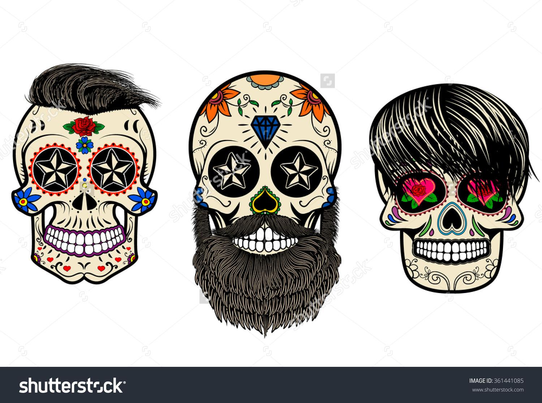 Three Sugar Skulls Hair Beards Day Stock Vector 361441085.