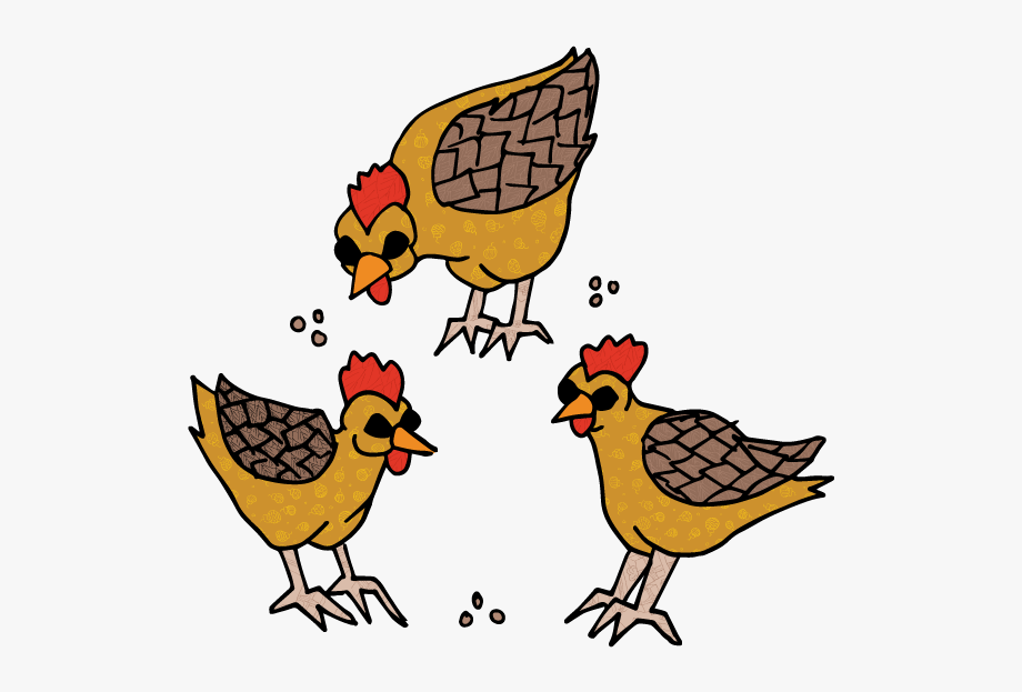 Three Hens By Sh.