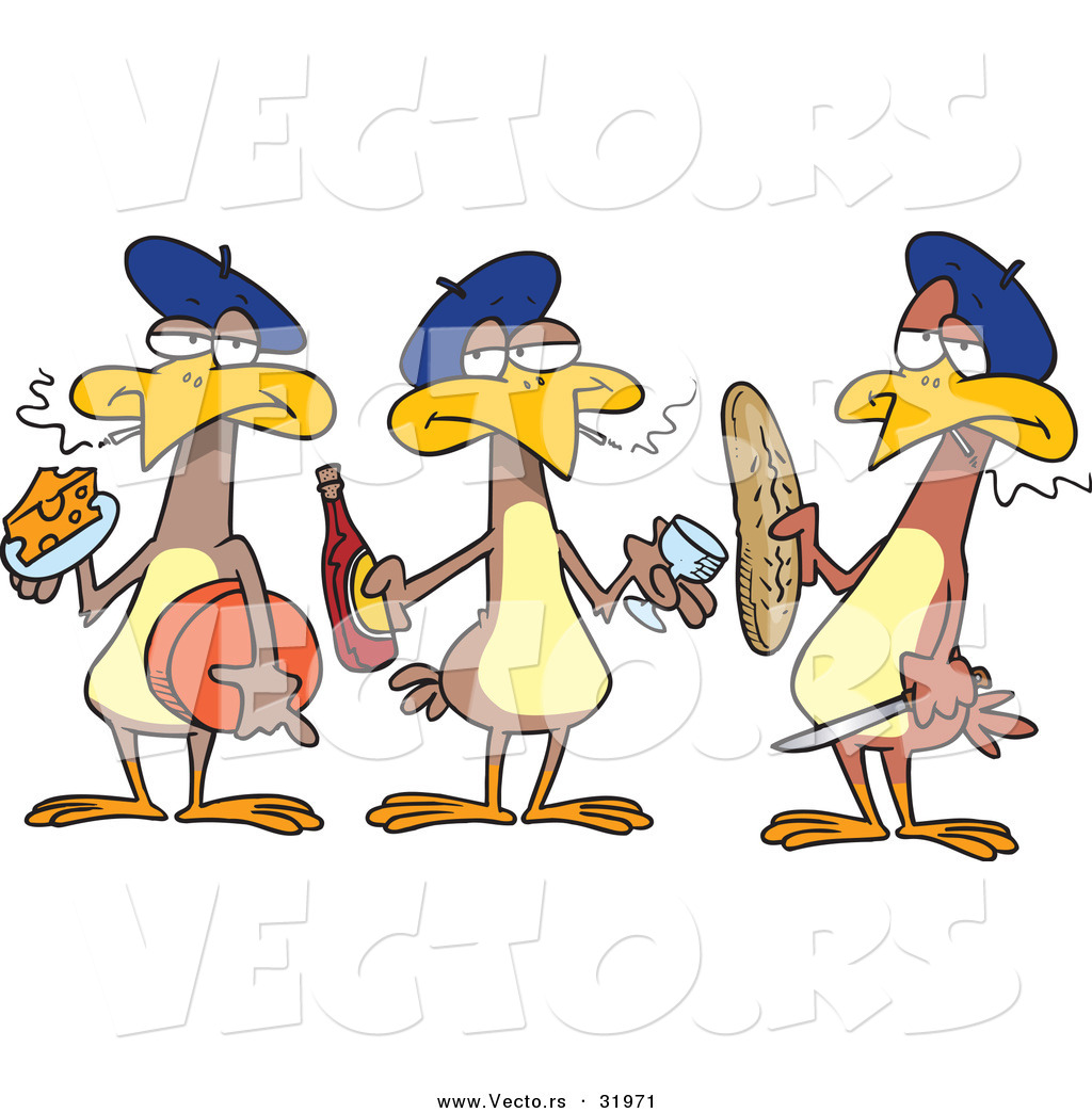 Royalty Free Stock Vector Designs of Three French Hens.