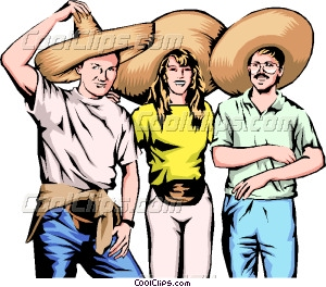 Three friends with Mexican Vector Clip art.