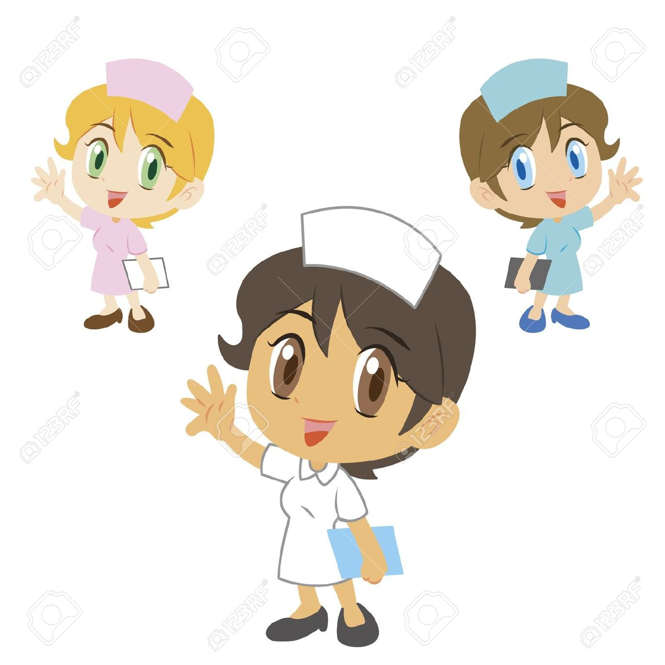 Three Cute Cartoon Nurses Royalty Free Cliparts, Vectors, And.