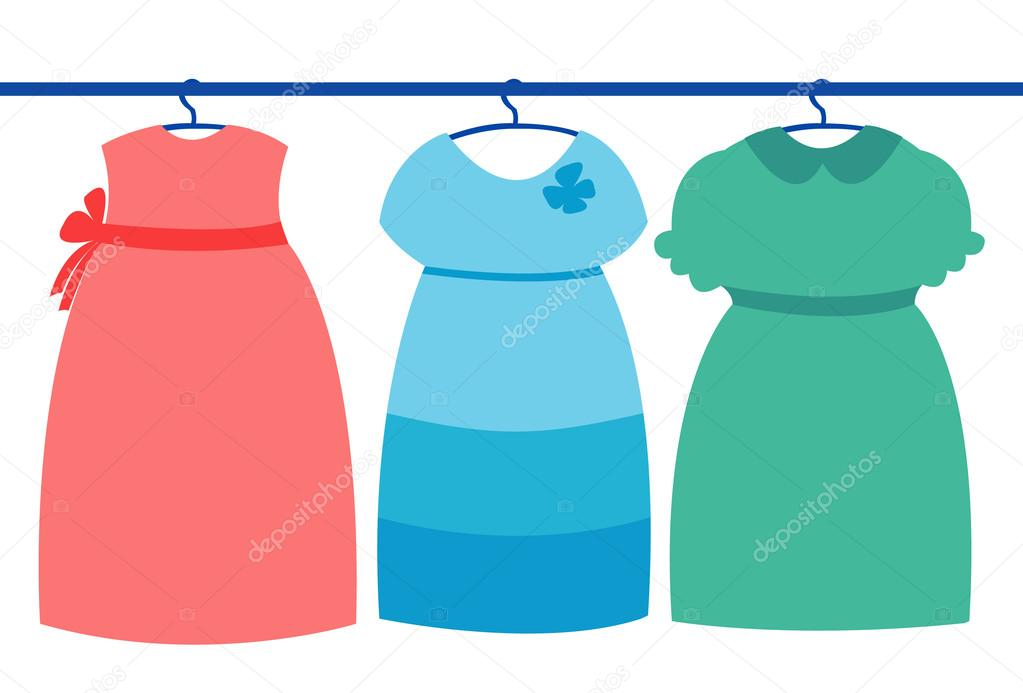 Three girl dress in wardrobe — Stock Vector © Dr.Art #28436311.