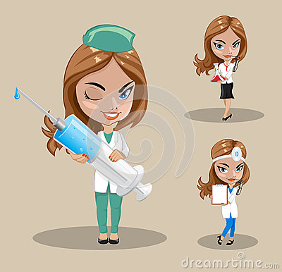 Woman Doctor Or Nurse In A Vector, Set Of Three Female Doctors In.