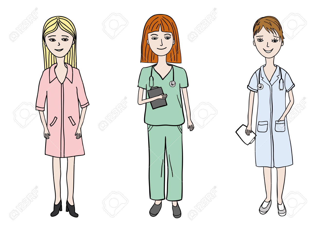 Three Young Woman Dressed In Medical Uniform Wearing Stethoscopes.