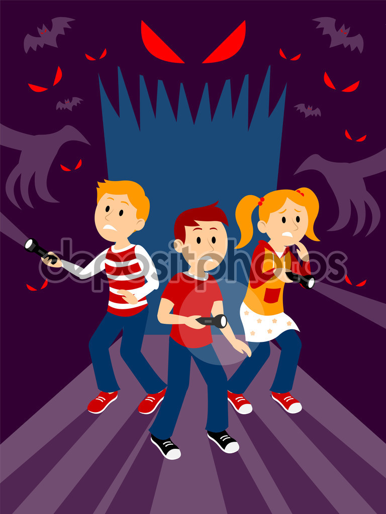 Kids in the Haunted House Clipart — Stock Vector © jacklooser.