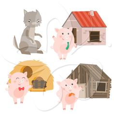 The Little Pigs clipart set. Pig, Girl Pig, Roast beef, Market bag.