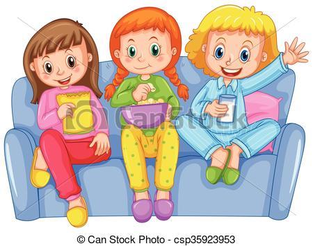 Clipart Vector of Three girls at slumber party illustration.