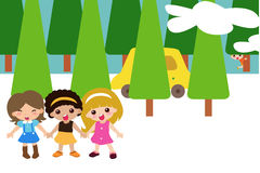 Three Girls Home Cartoon Stock Photos, Images, & Pictures.