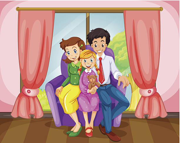 Three Girls Sitting On Sofa At Home Clip Art, Vector Images.