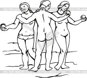graces; by Raphael.