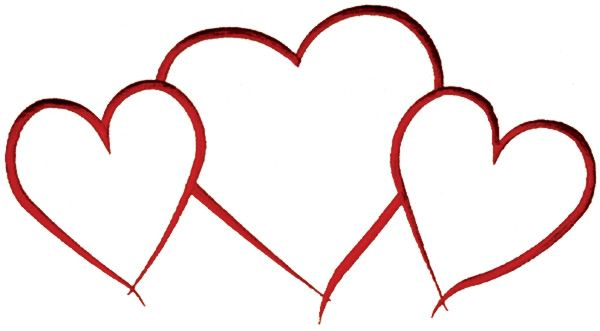 Hearts Outline Embroidery Design.