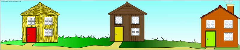 Three Little Pigs Houses Clipart.