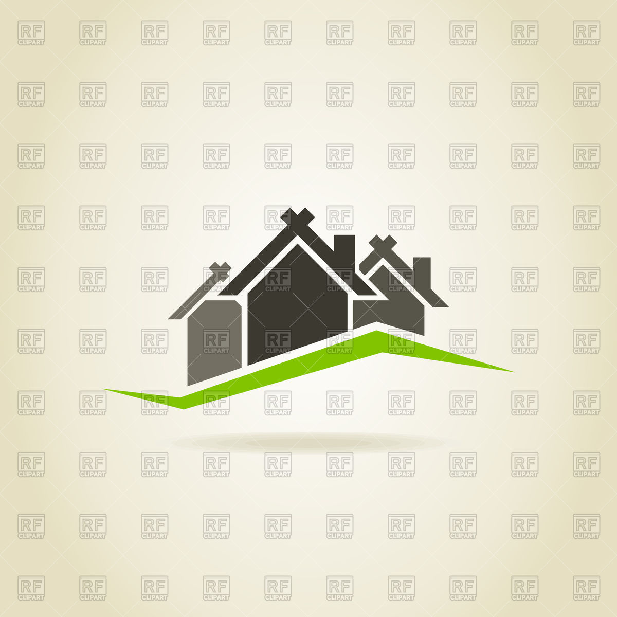 Three houses on green hill icon Vector Image #82875.