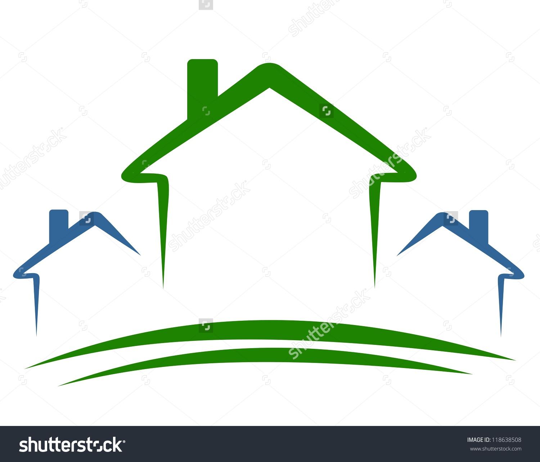 Three Houses Happy Houses Stock Vector 118638508.