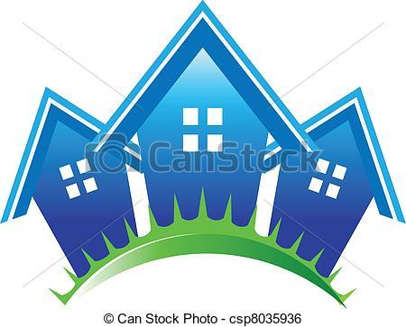 Clip Art Vector of Three houses business icons csp8035936.
