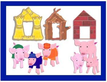 Three Little Pigs Houses Clip Art.