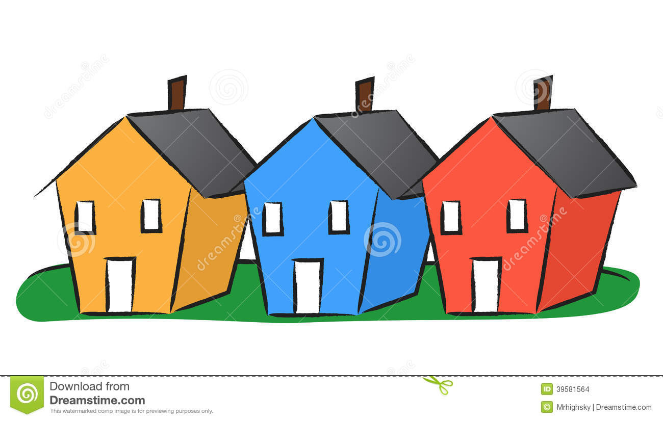 Three Colorful Houses Stock Illustrations.