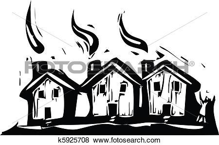 Clip Art of Three Houses k5925708.