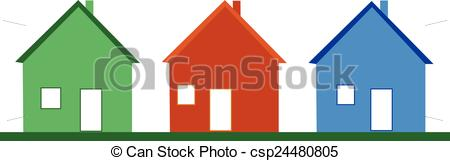 Vector Clipart of three houses.