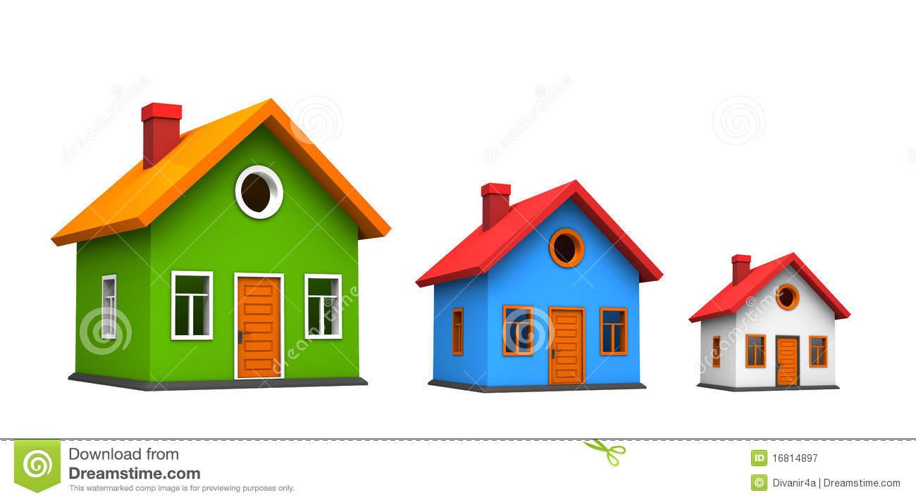 Three Houses Royalty Free Stock Photography.