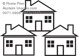 Clip Art Illustration Of The Outlines Of Three Houses.