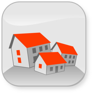 Clip Art Three Houses With Orange Roofs #WtFFD2.