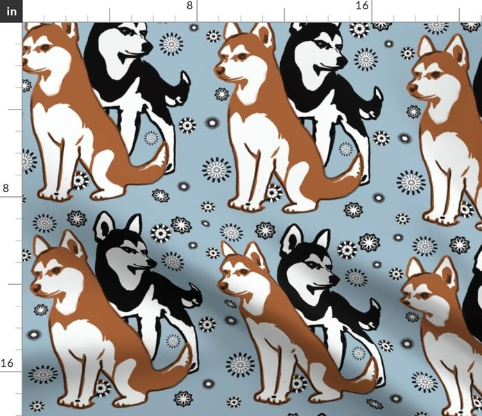 Fabric by the Yard double colors siberian husky.