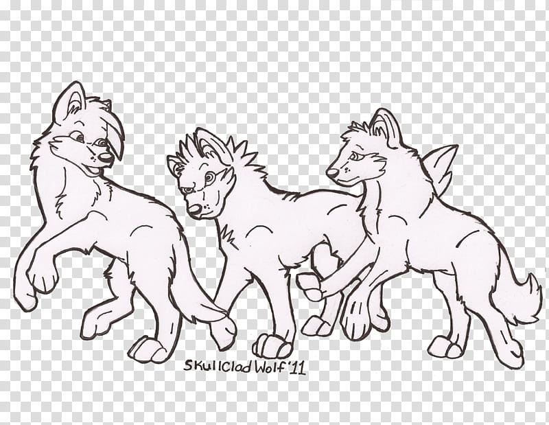 WIP Wolf Pup Line Art, three black dog illustration.