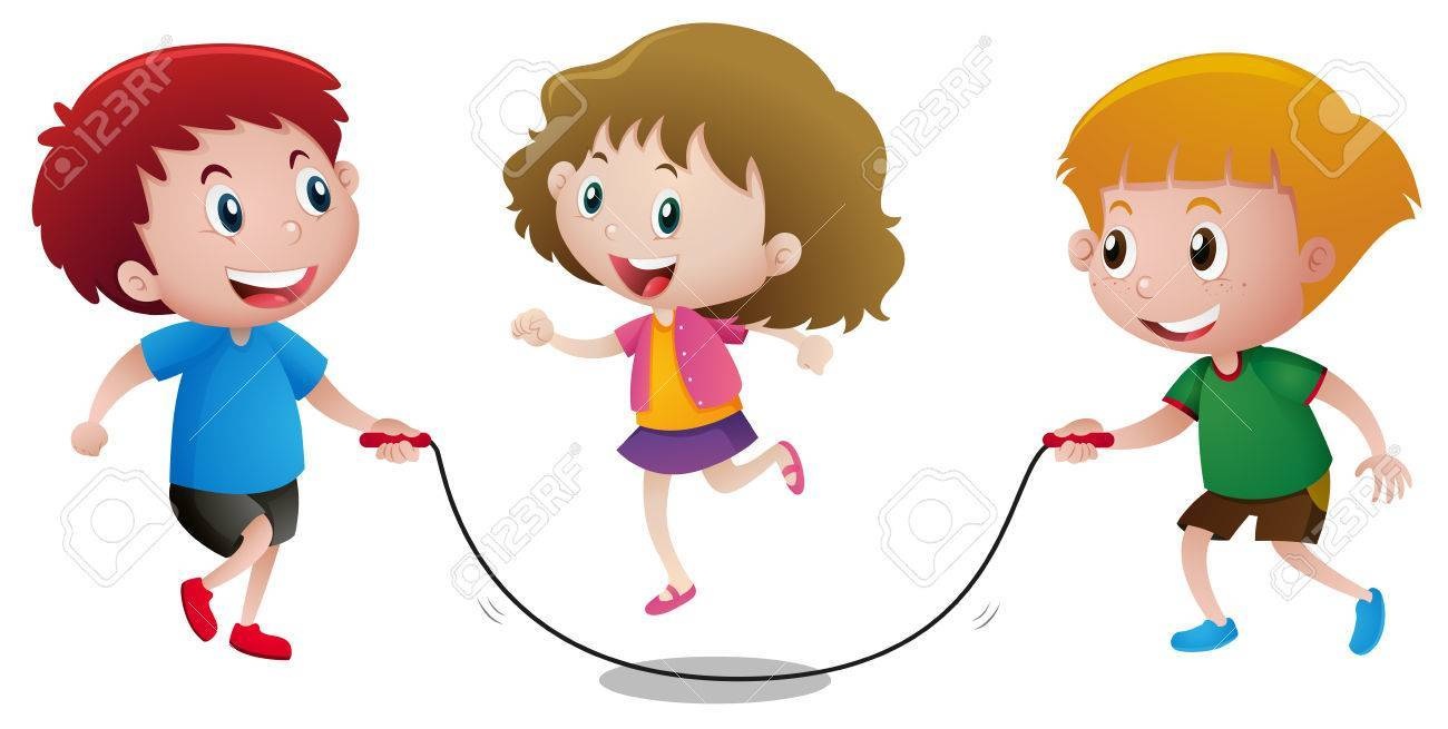 Three kids playing jump rope » Clipart Portal.