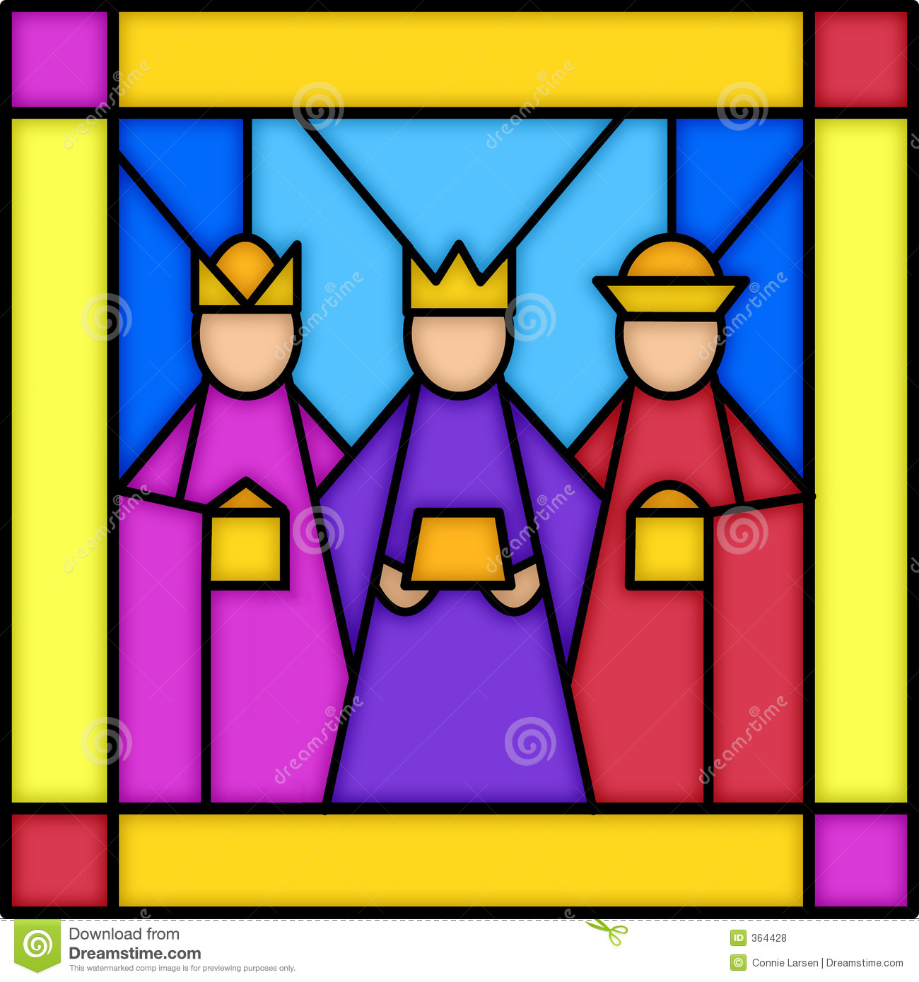 Three Kings In Stained Glass Royalty Free Stock Photos.