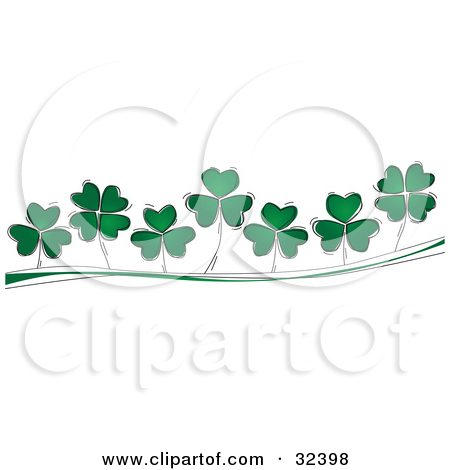 Free Clipart Of A St Patricks Day Border of Shamrock Clovers.