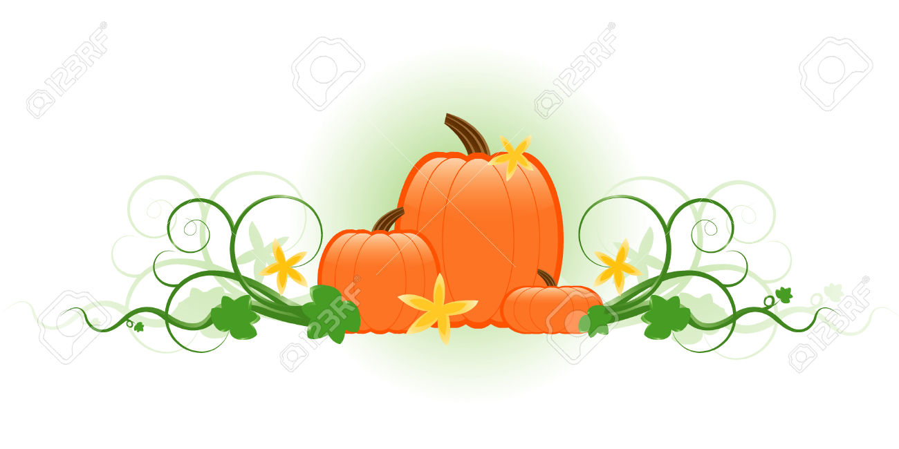 Three Pumpkins Surrounded By Swirling Vines With Green Leaves.