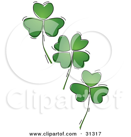 Free Clipart Of A Patterned St Paddys Day Shamrock Four Leaf Clover.