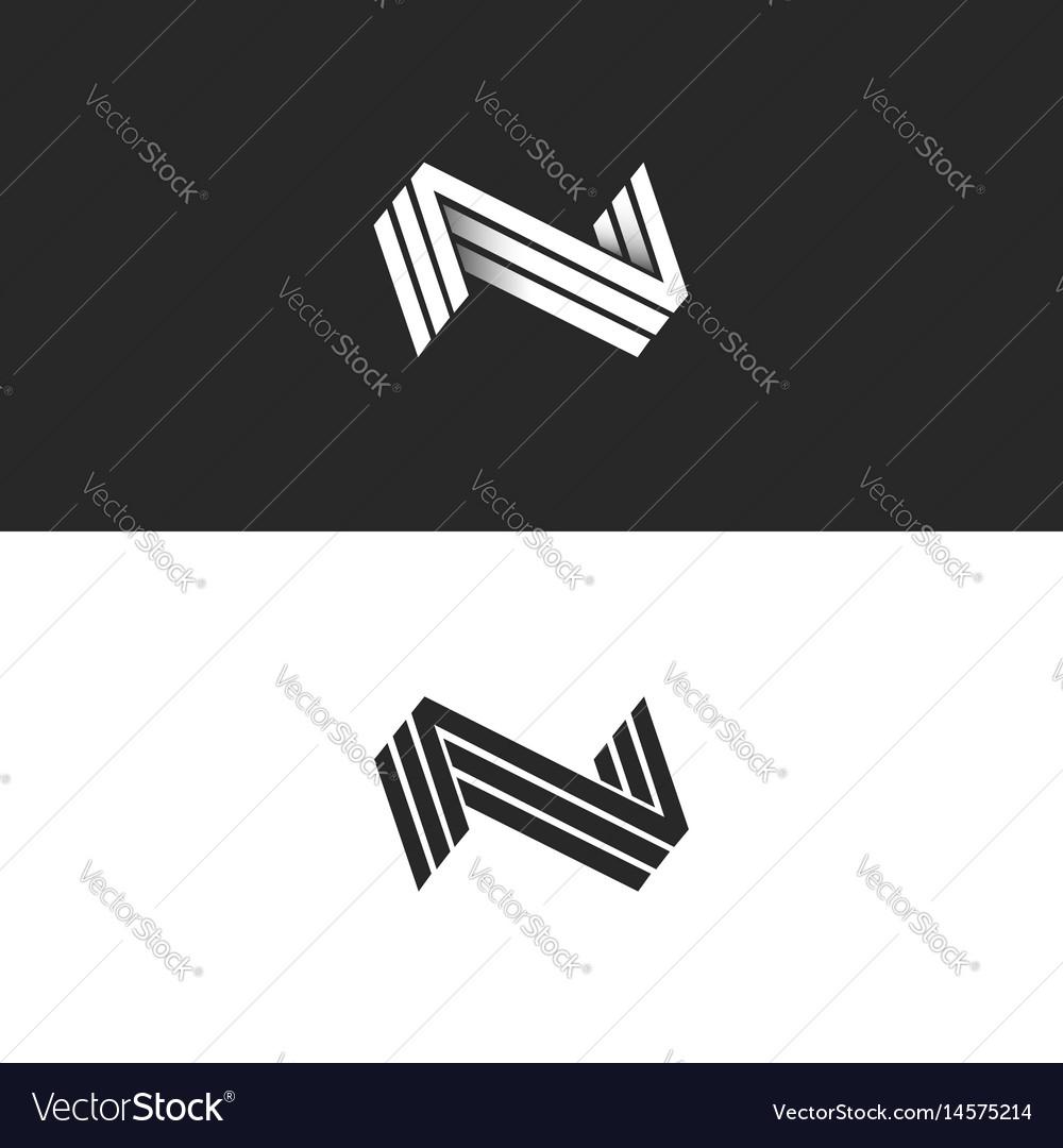 Letter n logo three nnn mark isometric lines.