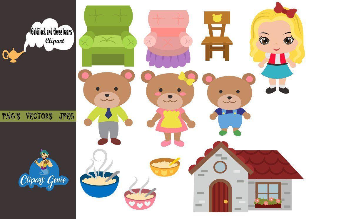 Goldilock and three bears clipart, Goldilock clipart.