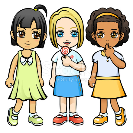 Three Little Girls Without Background Stock Vector.