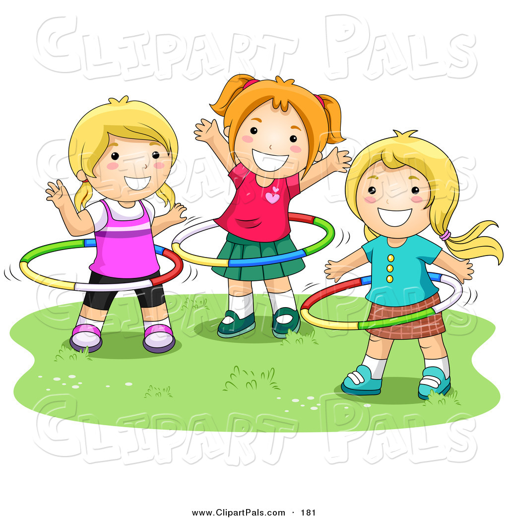 Little Girl Toys Clipart.