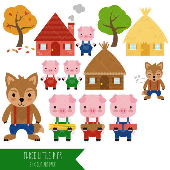 The Three Little Pigs And The Big Bad Wolf Clipart.