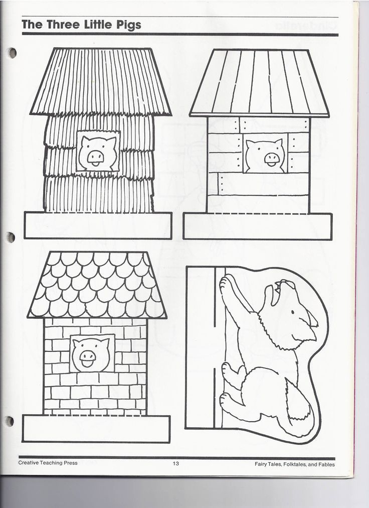 Image result for 3 little pig clipart houses black and white.