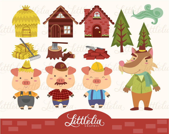 The Three Little Pigs Story Clipart.
