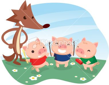 Three little pigs with cartoon wolf. in 2019.