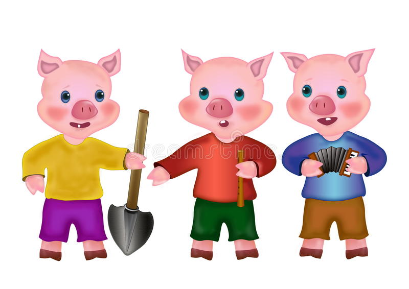 Three Little Pigs Characters Clipart.
