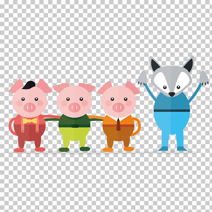 Fairy tale Illustration, Three Little Pigs, three little.