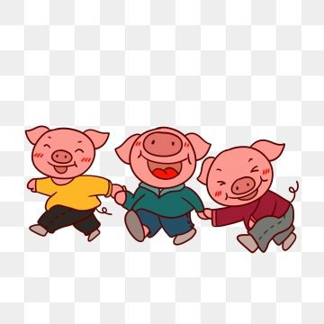 Hand Painted Cartoon Lovely Year Of The Pig.