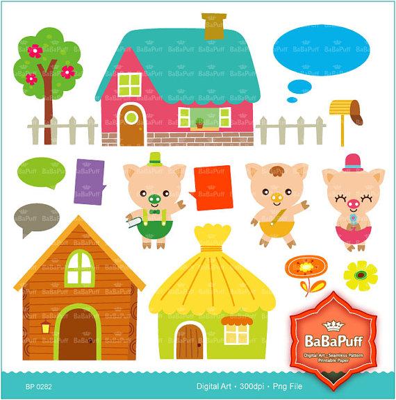 Instant Downloads, 3 Little Pigs & Wolf Fairy Tale Clip Art.