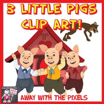 Three Little Pigs Story Clip Art.