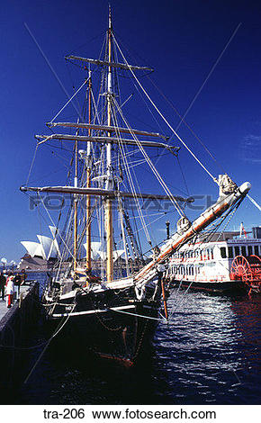 Stock Images of Square Rigged Three Masted Ship at Quayside tra.