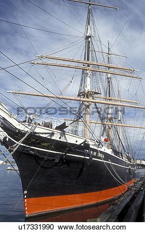 Stock Photography of tall ship, San Diego, California, CA, 1863.